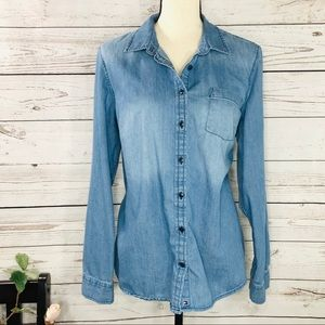 Tommy Hilfiger Chambray Button Front Long Sleeve